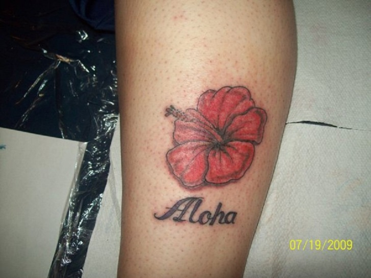 Bright Red Simple Hibiscus Flower Tattoo with Aloha Letter on Leg