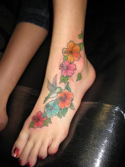 Cute Flower Foot Tattoo Design for Women