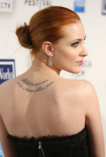 Evan Rachel Wood Tattoo with Quote Edgar Allan Poe