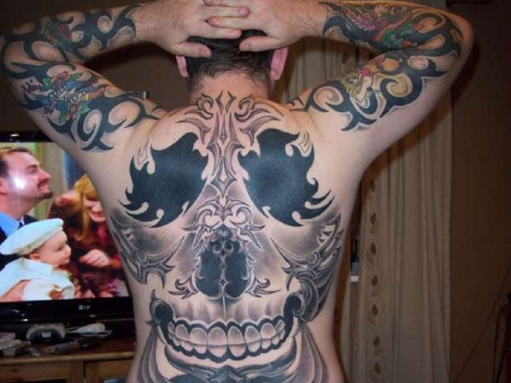 Metal Full Body Tattoo on Back and Hands