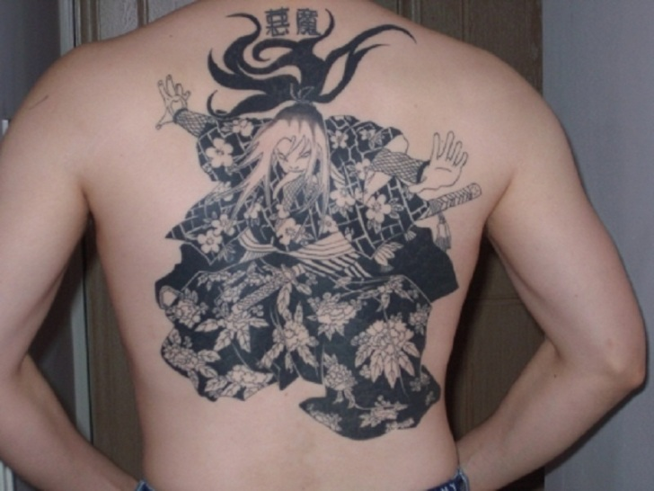 Nice Print Kung Fu Girl Back Tattoo Ideas for Men
