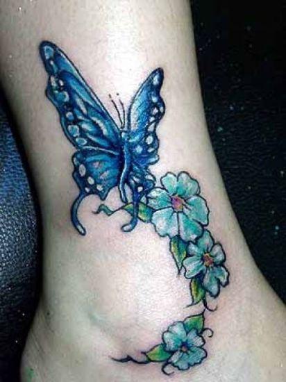 Women Flower Butterfly Ankle Tattoo