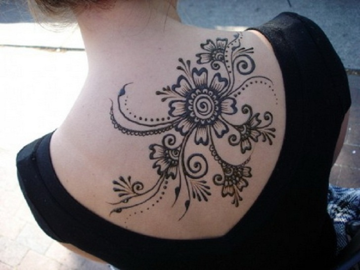 Wonderful Large Upper Back Henna Tattoo Design