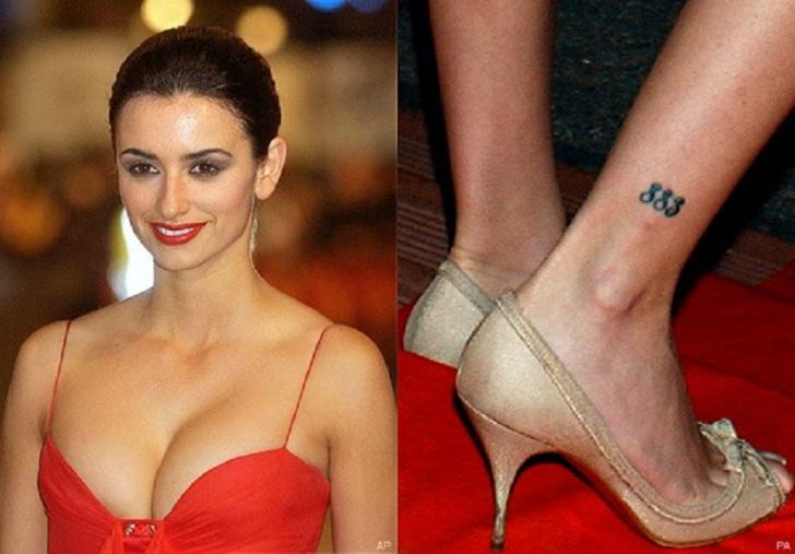 Wonderful Penelope Cruz 883 Tribal Tattoo on Right Leg
