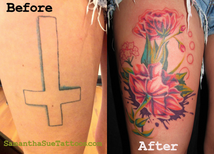 cross to flower cover tattoo on leg
