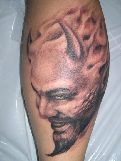 devil gothic tattoo on leg