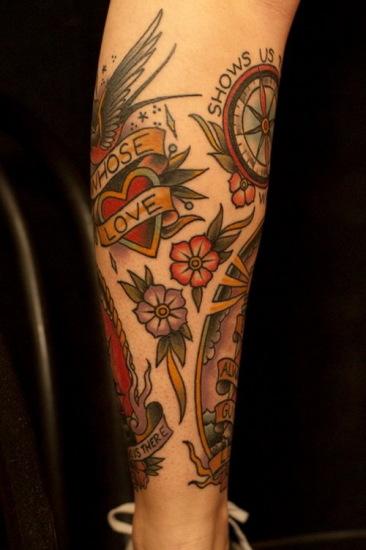 heart flower leg tattoo design