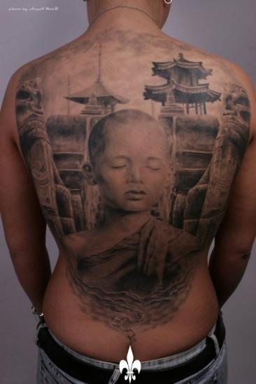 monk tattoo design on back