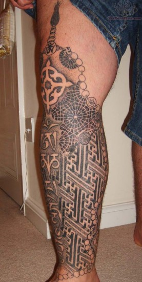 tibetan tattoo design on leg