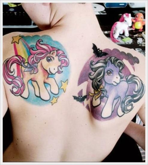 two unicorn cartoon tattoo on back