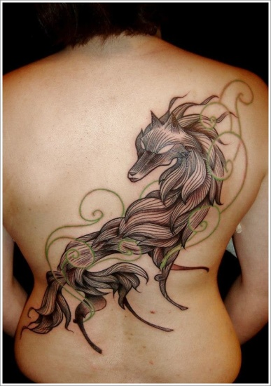 unique wolf tattoo design on back