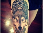 wolf leg tattoo for girls