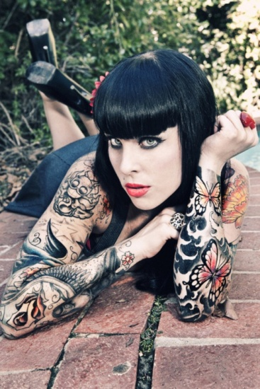 woman full sleeve tattoo design